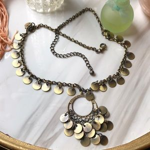 Copper tone medallion articulated necklace